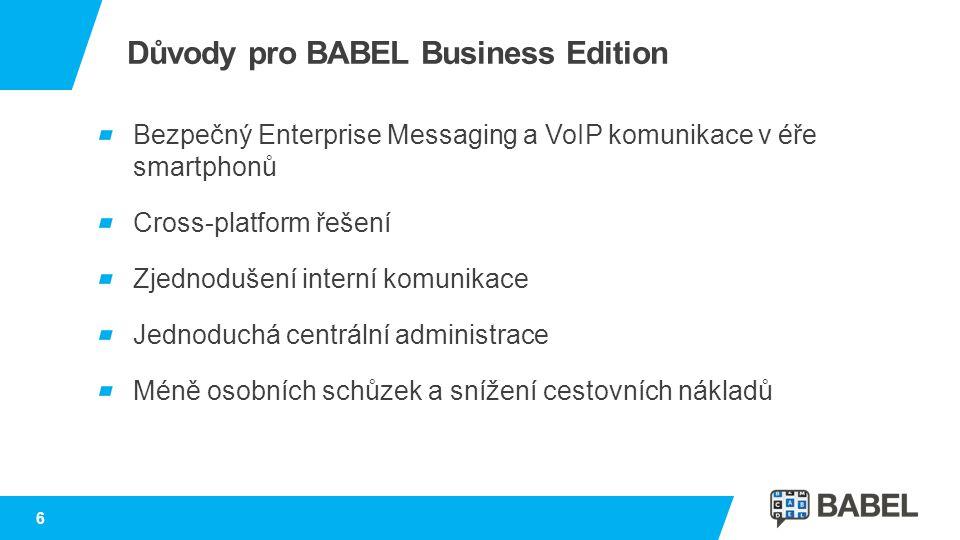 Důvody pro BABEL Business Edition Bezpečný Enterprise Messaging a VoIP komunikace v éře smartphonů Cross-platform řešení Zjednodušení interní komunika