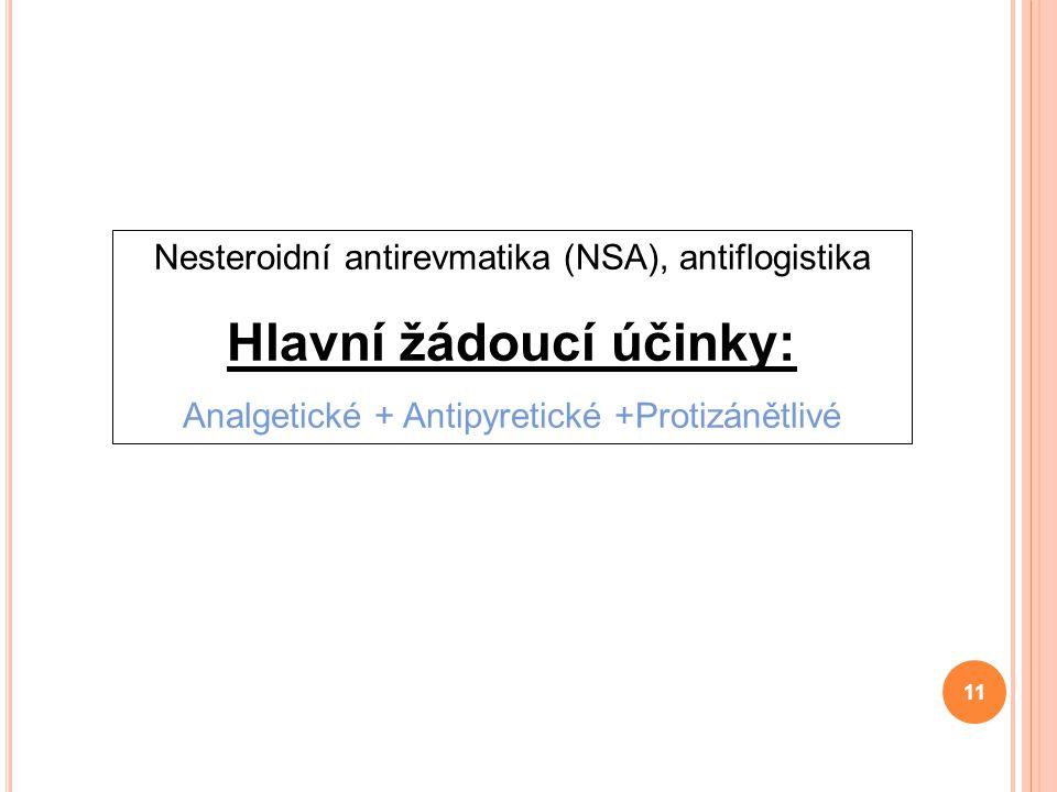Nesteroidní antirevmatika (NSA), antiflogistika Hlavní žádoucí účinky: Analgetické + Antipyretické +Protizánětlivé 11