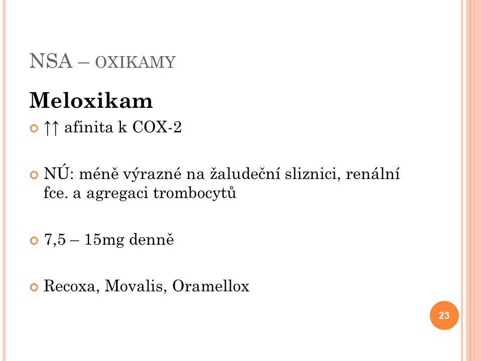 NSA – OXIKAMY Meloxikam ↑↑ afinita k COX-2 NÚ: méně výrazné na žaludeční sliznici, renální fce. a agregaci trombocytů 7,5 – 15mg denně Recoxa, Movalis