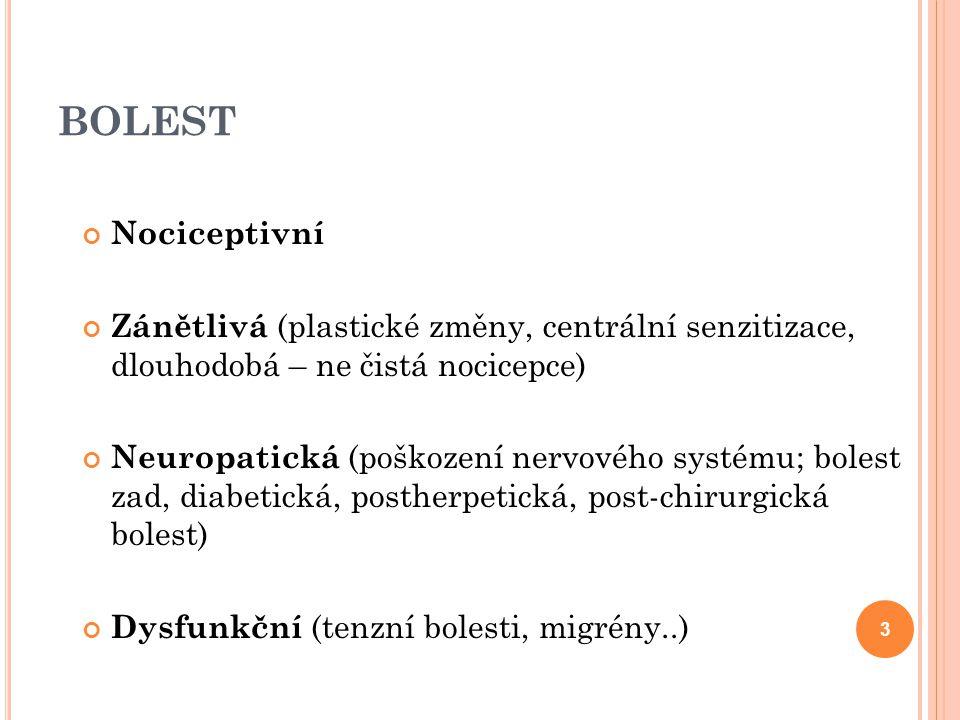 BOLEST Nociceptivní Zánětlivá (plastické změny, centrální senzitizace, dlouhodobá – ne čistá nocicepce) Neuropatická (poškození nervového systému; bol