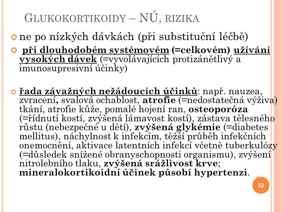 G LUKOKORTIKOIDY – NÚ, RIZIKA ne po nízkých dávkách (při substituční léčbě) při dlouhodobém systémovém (=celkovém) užívání vysokých dávek (=vyvolávají
