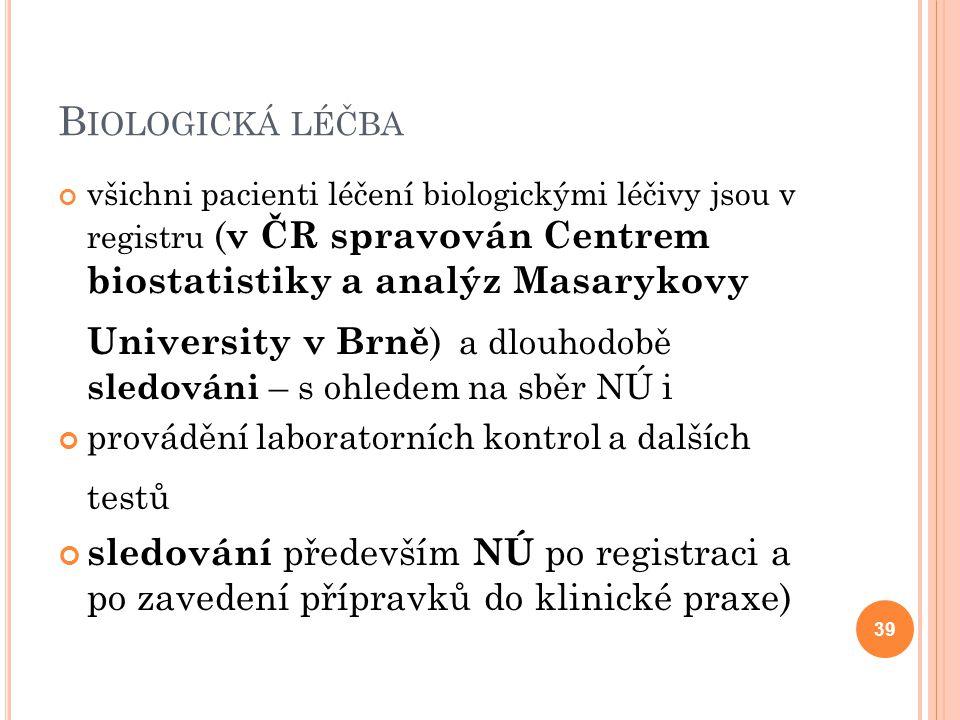 B IOLOGICKÁ LÉČBA všichni pacienti léčení biologickými léčivy jsou v registru ( v ČR spravován Centrem biostatistiky a analýz Masarykovy University v