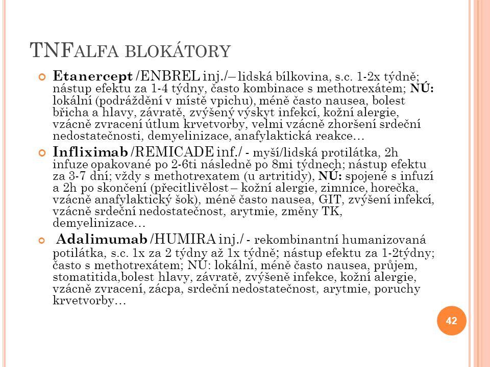 TNF ALFA BLOKÁTORY Etanercept /ENBREL inj./– lidská bílkovina, s.c. 1-2x týdně; nástup efektu za 1-4 týdny, často kombinace s methotrexátem; NÚ: lokál