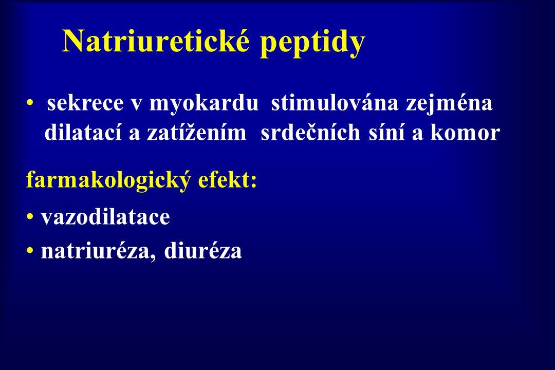 Natriuretické peptidy sekrece v myokardu stimulována zejména dilatací a zatížením srdečních síní a komor farmakologický efekt: vazodilatace natriuréza