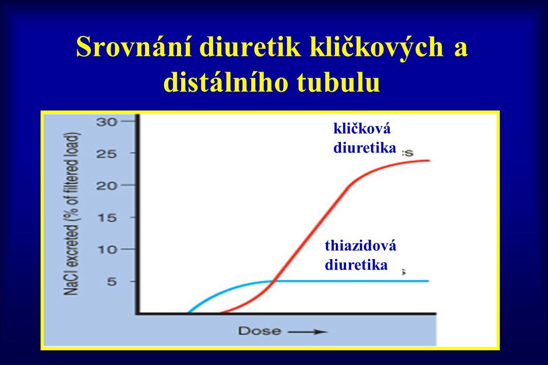Srovnání diuretik kličkových a distálního tubulu kličková diuretika thiazidová diuretika