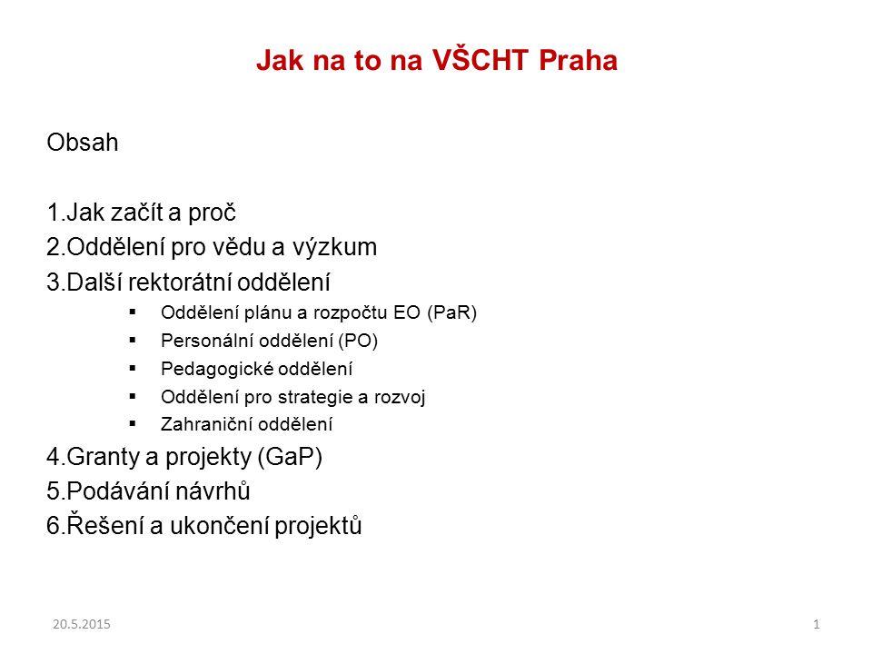Jak na to na VŠCHT Praha Obsah 1.Jak začít a proč 2.Oddělení pro vědu a výzkum 3.Další rektorátní oddělení  Oddělení plánu a rozpočtu EO (PaR)  Pers