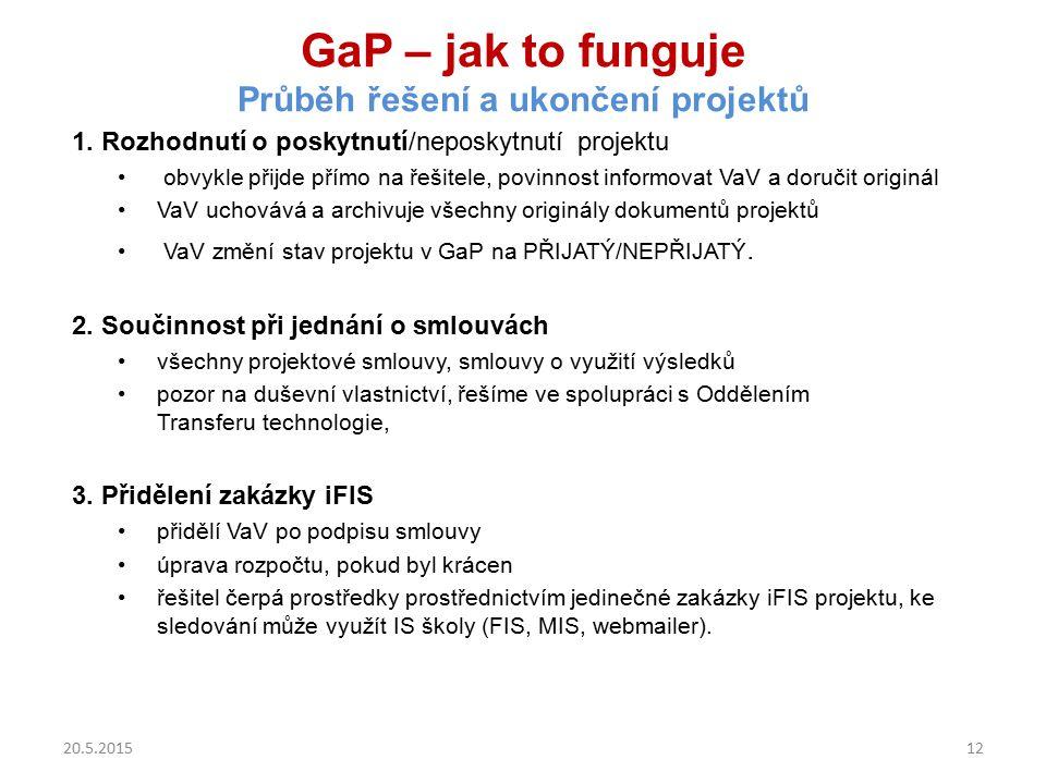 GaP – jak to funguje Průběh řešení a ukončení projektů 1. Rozhodnutí o poskytnutí/neposkytnutí projektu obvykle přijde přímo na řešitele, povinnost in