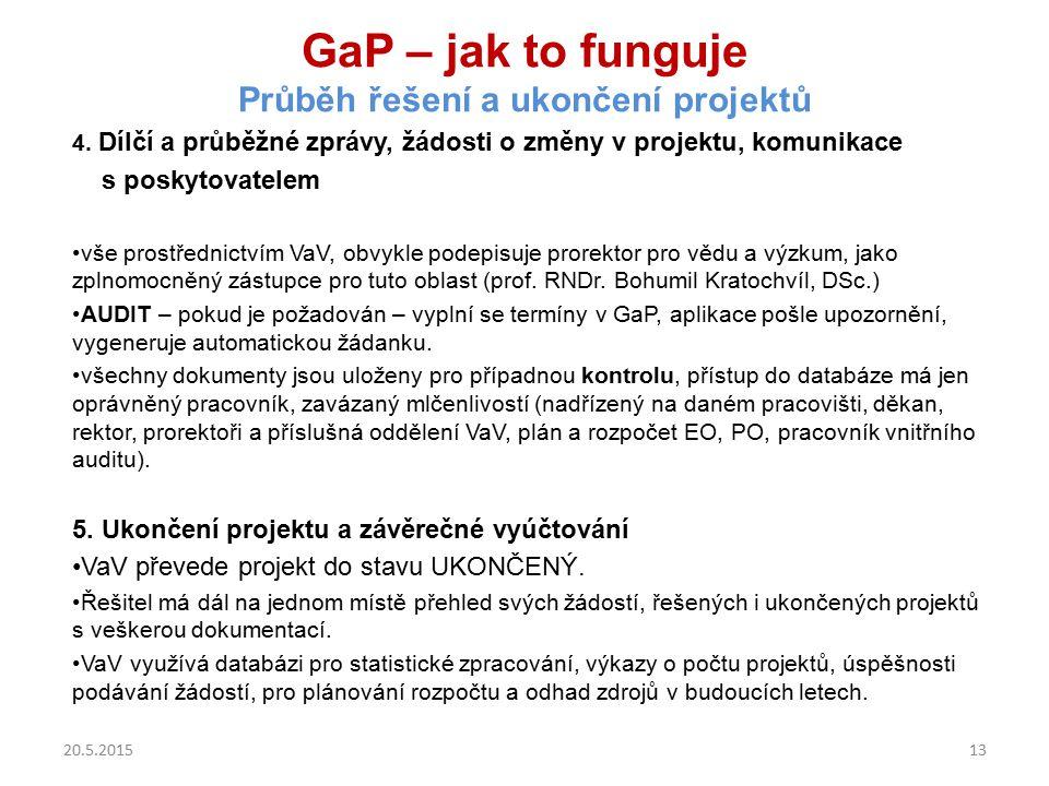 GaP – jak to funguje Průběh řešení a ukončení projektů 4. Dílčí a průběžné zprávy, žádosti o změny v projektu, komunikace s poskytovatelem vše prostře