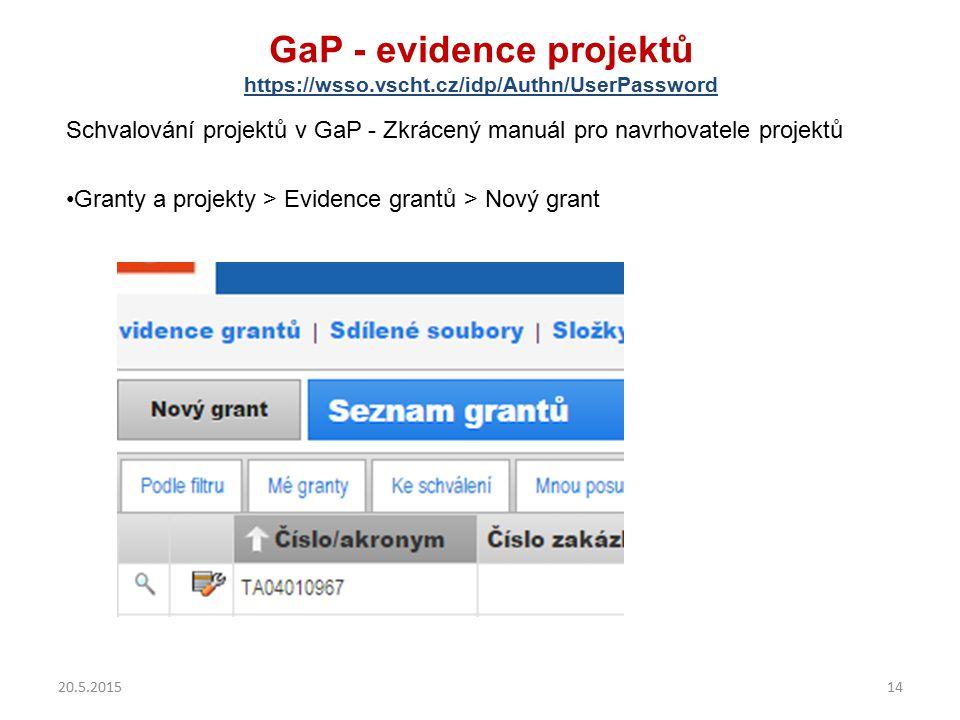 GaP - evidence projektů https://wsso.vscht.cz/idp/Authn/UserPassword Schvalování projektů v GaP - Zkrácený manuál pro navrhovatele projektů Granty a p