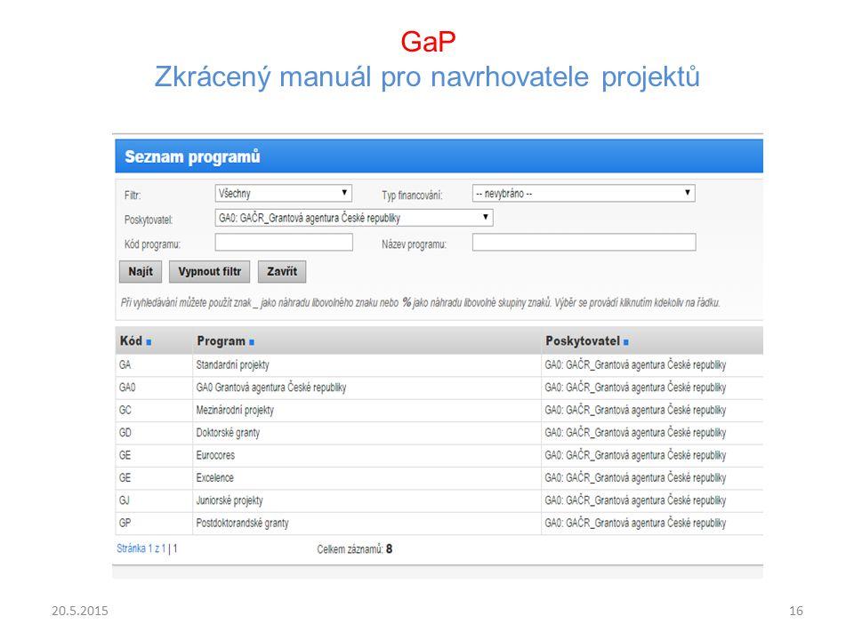 GaP Zkrácený manuál pro navrhovatele projektů 20.5.201516