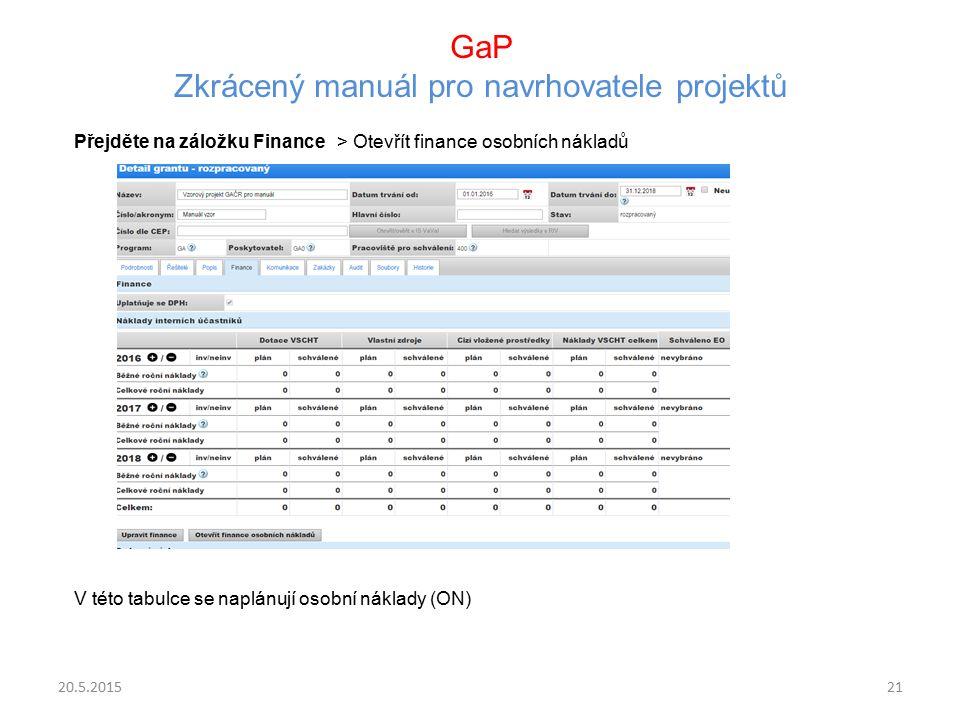 GaP Zkrácený manuál pro navrhovatele projektů Přejděte na záložku Finance > Otevřít finance osobních nákladů V této tabulce se naplánují osobní náklad
