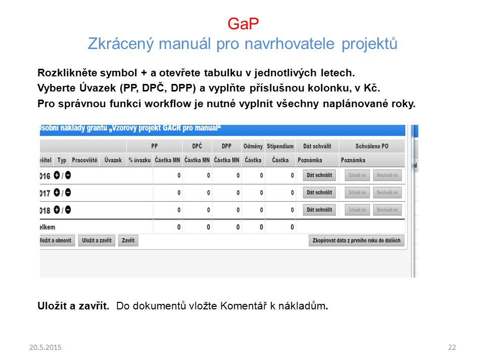 GaP Zkrácený manuál pro navrhovatele projektů Rozklikněte symbol + a otevřete tabulku v jednotlivých letech. Vyberte Úvazek (PP, DPČ, DPP) a vyplňte p