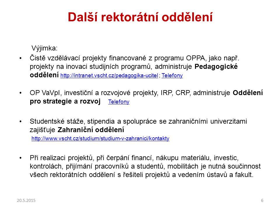 Další rektorátní oddělení Výjimka: Čistě vzdělávací projekty financované z programu OPPA, jako např. projekty na inovaci studijních programů, administ