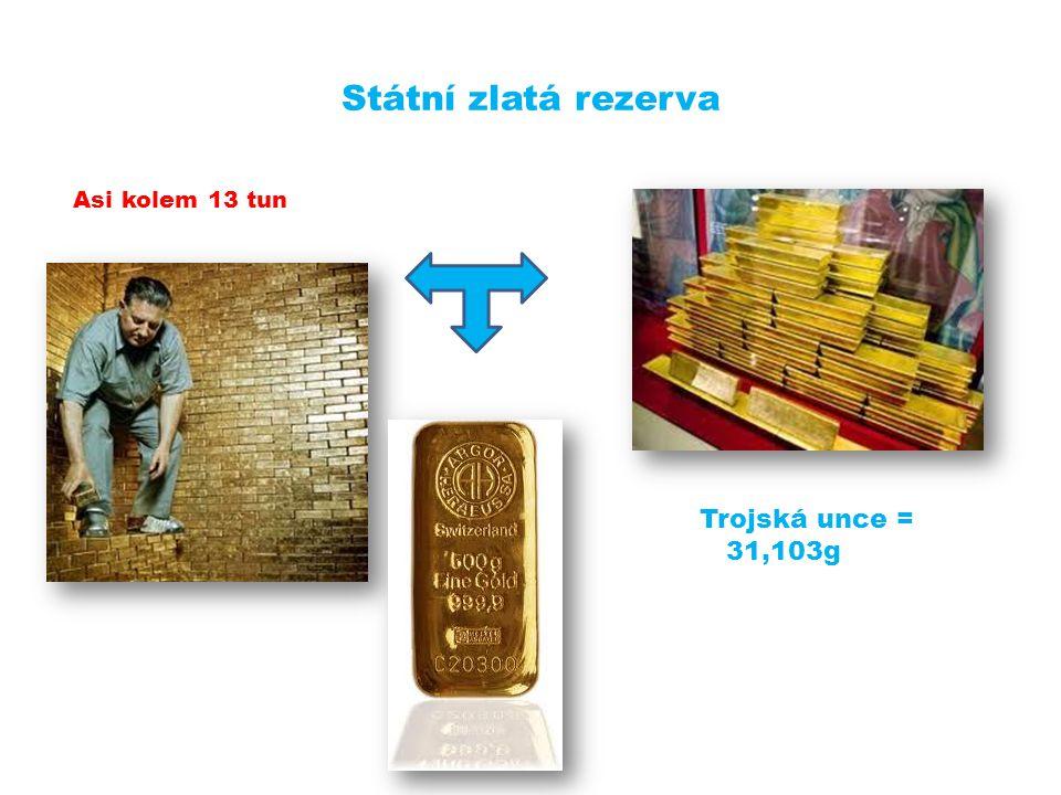 Státní zlatá rezerva Asi kolem 13 tun Trojská unce = 31,103g