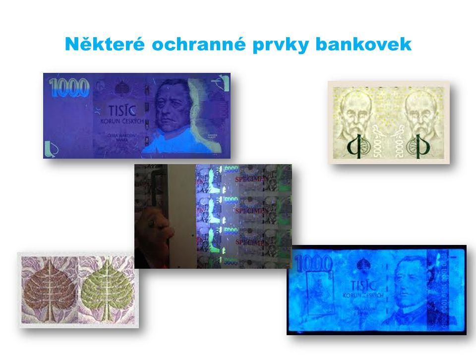 Některé ochranné prvky bankovek