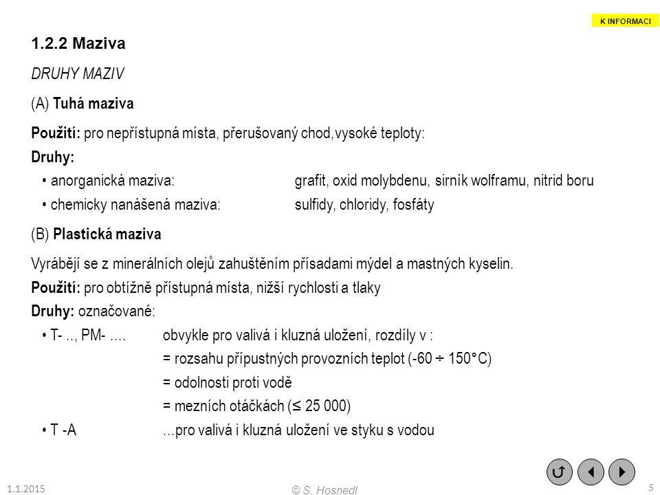 1.2.2 Maziva DRUHY MAZIV (A) Tuhá maziva Použití: pro nepřístupná místa, přerušovaný chod,vysoké teploty: Druhy: anorganická maziva: grafit, oxid moly