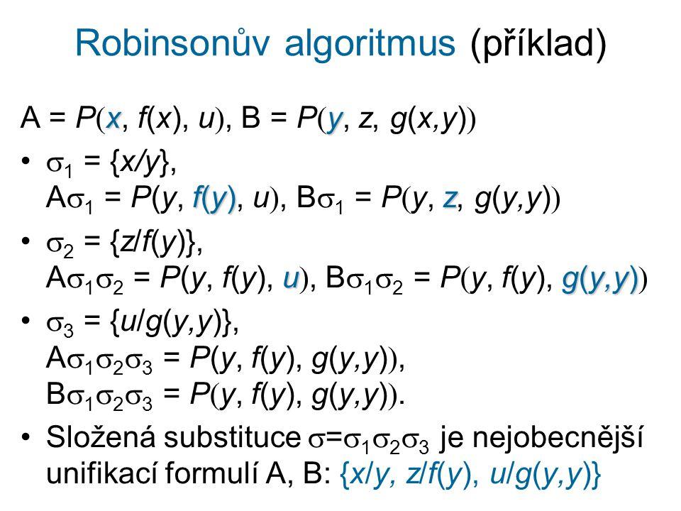Robinsonův algoritmus (příklad) xy A = P  x, f(x), u , B = P  y, z, g(x,y)  f(y)z  1 = {x/y}, A  1 = P(y, f(y), u , B  1 = P  y, z, g(y,y)  ug(y,y)  2 = {z/f(y)}, A  1  2 = P(y, f(y), u , B  1  2 = P  y, f(y), g(y,y)   3 = {u/g(y,y)}, A  1  2  3 = P(y, f(y), g(y,y) , B  1  2  3 = P  y, f(y), g(y,y) .