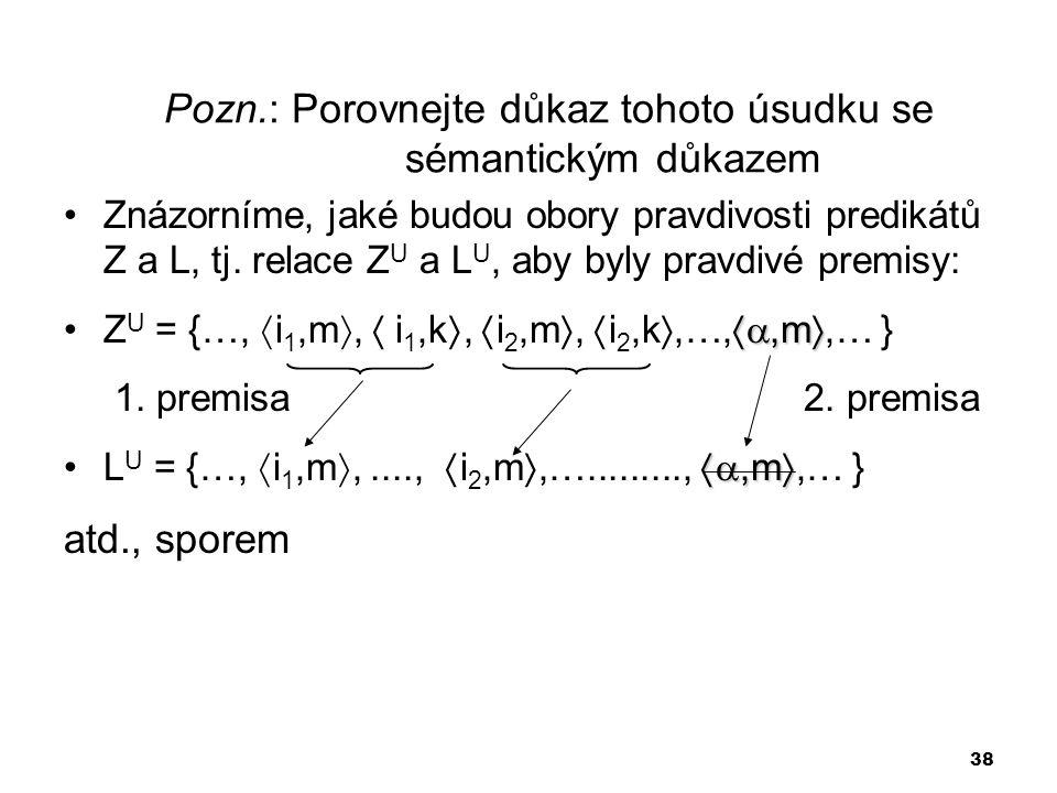 38 Pozn.: Porovnejte důkaz tohoto úsudku se sémantickým důkazem Znázorníme, jaké budou obory pravdivosti predikátů Z a L, tj. relace Z U a L U, aby by