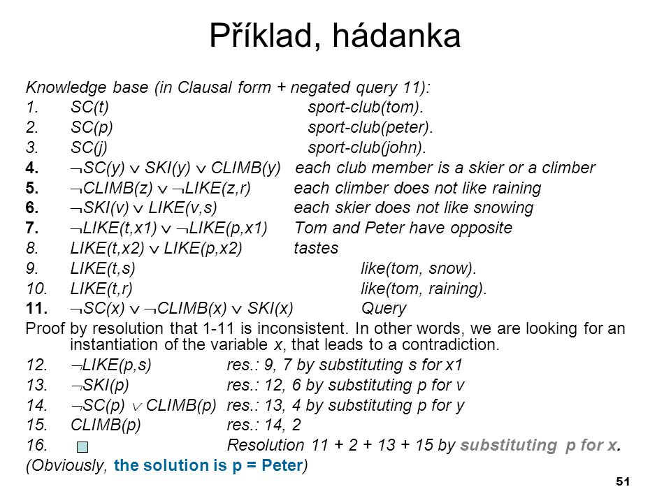 51 Příklad, hádanka Knowledge base (in Clausal form + negated query 11): 1.SC(t) sport-club(tom).