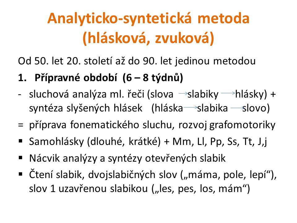 Analyticko-syntetická metoda (hlásková, zvuková) Od 50. let 20. století až do 90. let jedinou metodou 1.Přípravné období (6 – 8 týdnů) -sluchová analý