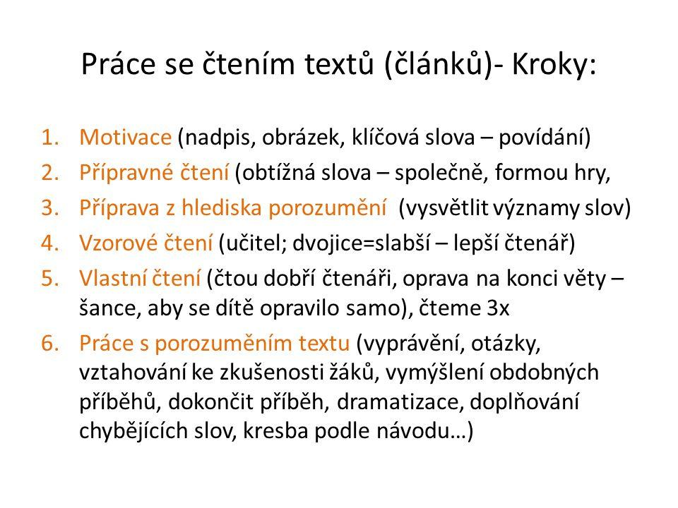 Práce se čtením textů (článků)- Kroky: 1.Motivace (nadpis, obrázek, klíčová slova – povídání) 2.Přípravné čtení (obtížná slova – společně, formou hry,