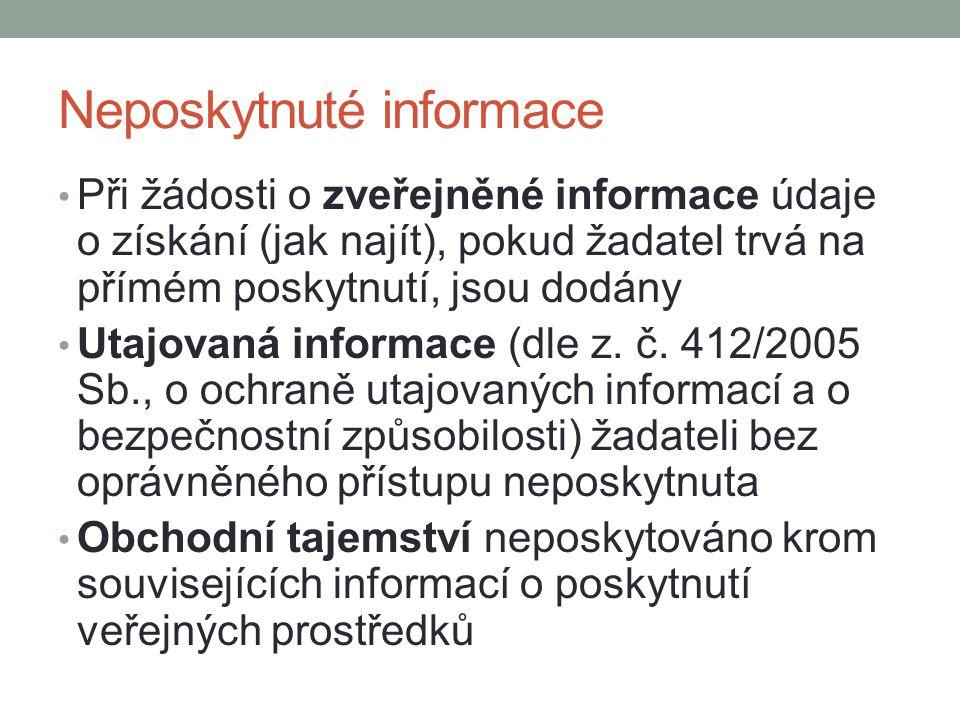 Neposkytnuté informace Při žádosti o zveřejněné informace údaje o získání (jak najít), pokud žadatel trvá na přímém poskytnutí, jsou dodány Utajovaná
