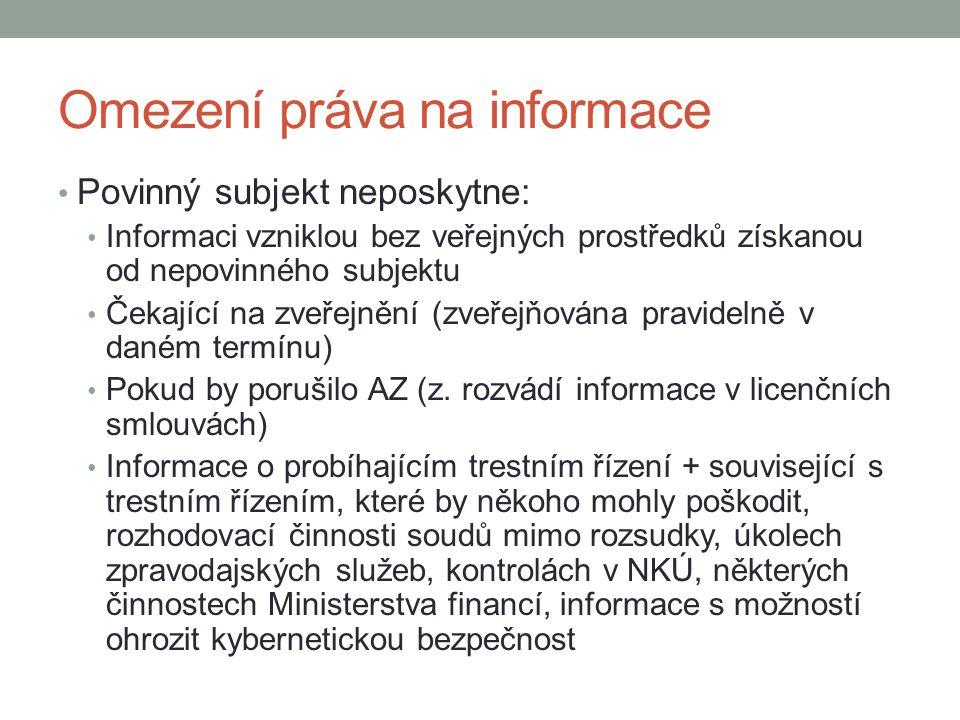Omezení práva na informace Povinný subjekt neposkytne: Informaci vzniklou bez veřejných prostředků získanou od nepovinného subjektu Čekající na zveřej