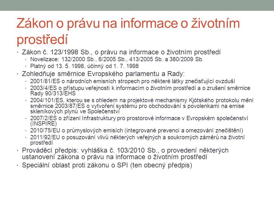 Zákon o právu na informace o životním prostředí Zákon č. 123/1998 Sb., o právu na informace o životním prostředí Novelizace: 132/2000 Sb., 6/2005 Sb.,