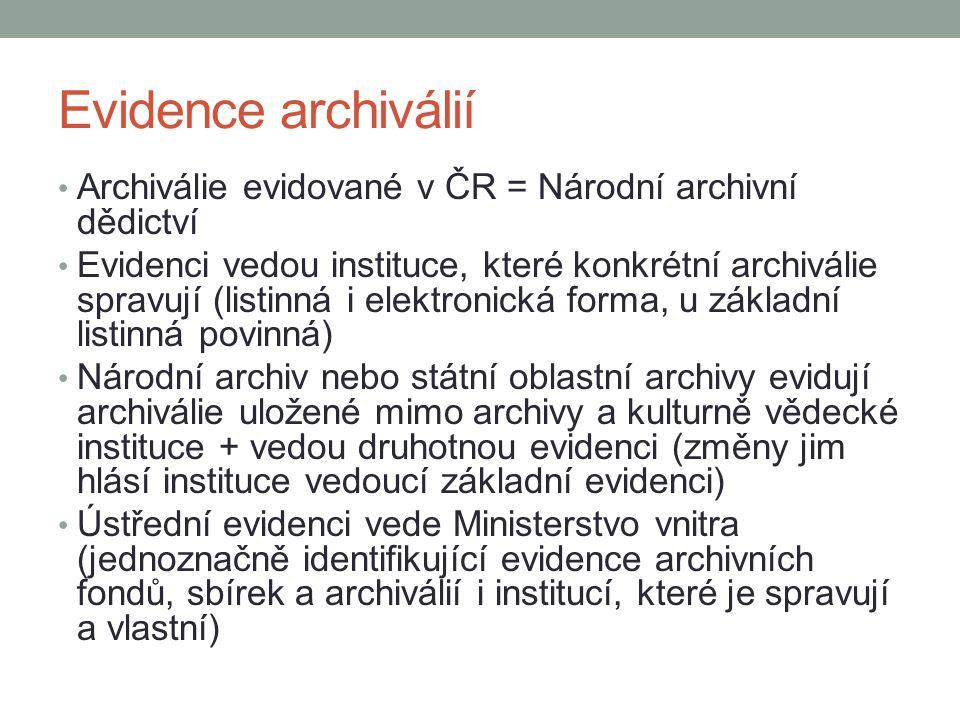 Evidence archiválií Archiválie evidované v ČR = Národní archivní dědictví Evidenci vedou instituce, které konkrétní archiválie spravují (listinná i el