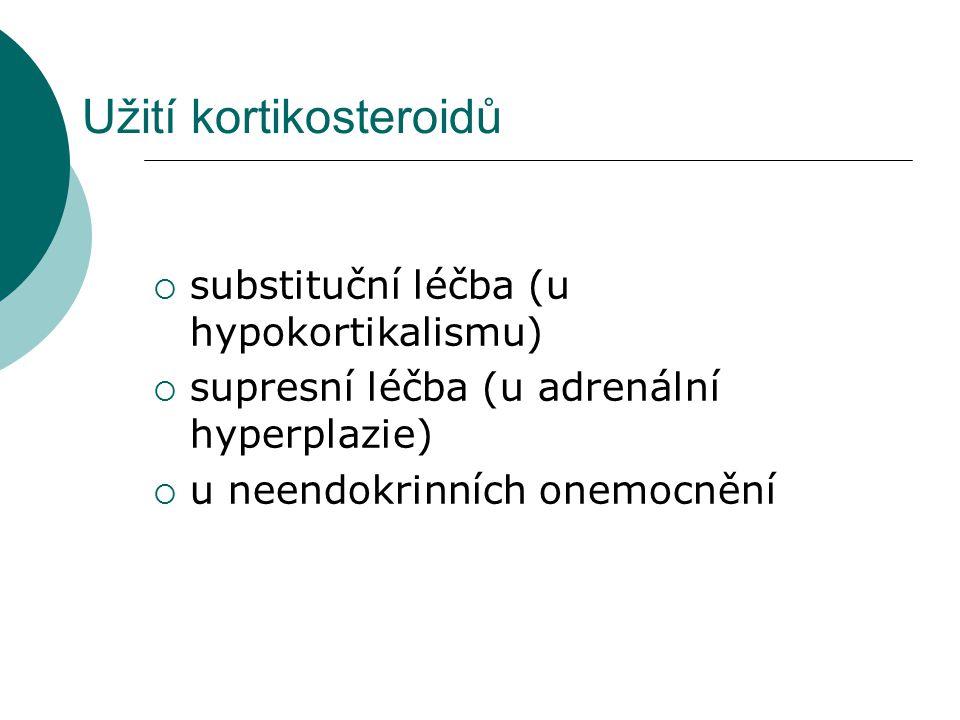 Užití kortikosteroidů  substituční léčba (u hypokortikalismu)  supresní léčba (u adrenální hyperplazie)  u neendokrinních onemocnění