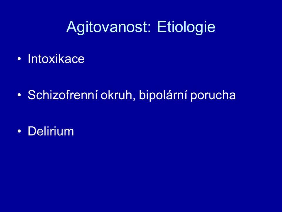 Agitovanost: Etiologie Intoxikace Schizofrenní okruh, bipolární porucha Delirium