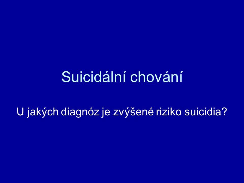 Suicidální chování U jakých diagnóz je zvýšené riziko suicidia?