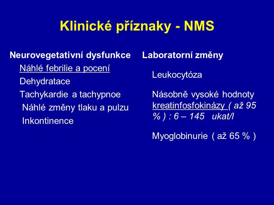 Klinické příznaky - NMS Neurovegetativní dysfunkce Náhlé febrilie a pocení Dehydratace Tachykardie a tachypnoe Náhlé změny tlaku a pulzu Inkontinence Laboratorní změny Leukocytóza Násobně vysoké hodnoty kreatinfosfokinázy ( až 95 % ) : 6 – 145 ukat/l Myoglobinurie ( až 65 % )