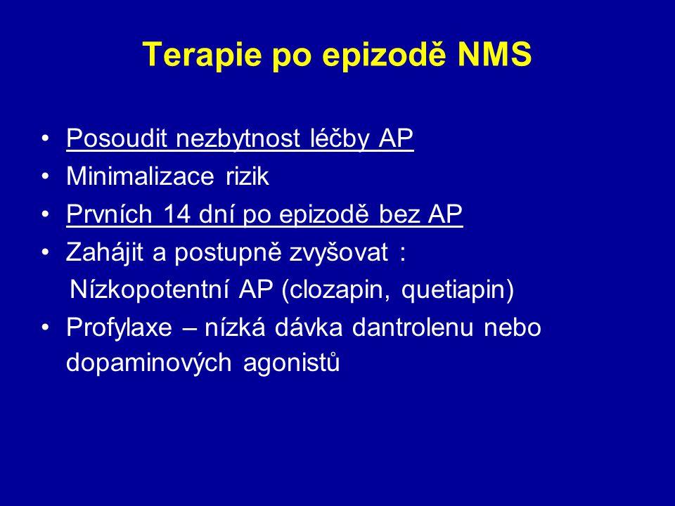 Terapie po epizodě NMS Posoudit nezbytnost léčby AP Minimalizace rizik Prvních 14 dní po epizodě bez AP Zahájit a postupně zvyšovat : Nízkopotentní AP (clozapin, quetiapin) Profylaxe – nízká dávka dantrolenu nebo dopaminových agonistů