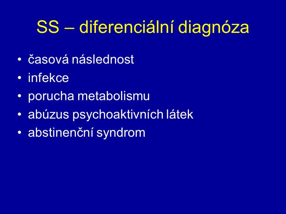 SS – diferenciální diagnóza časová následnost infekce porucha metabolismu abúzus psychoaktivních látek abstinenční syndrom