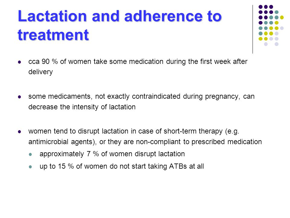 Lactation and adherence to treatment cca 90 % of women take some medication during the first week after delivery some medicaments, not exactly contraindicated during pregnancy, can decrease the intensity of lactation women tend to disrupt lactation in case of short-term therapy (e.g.