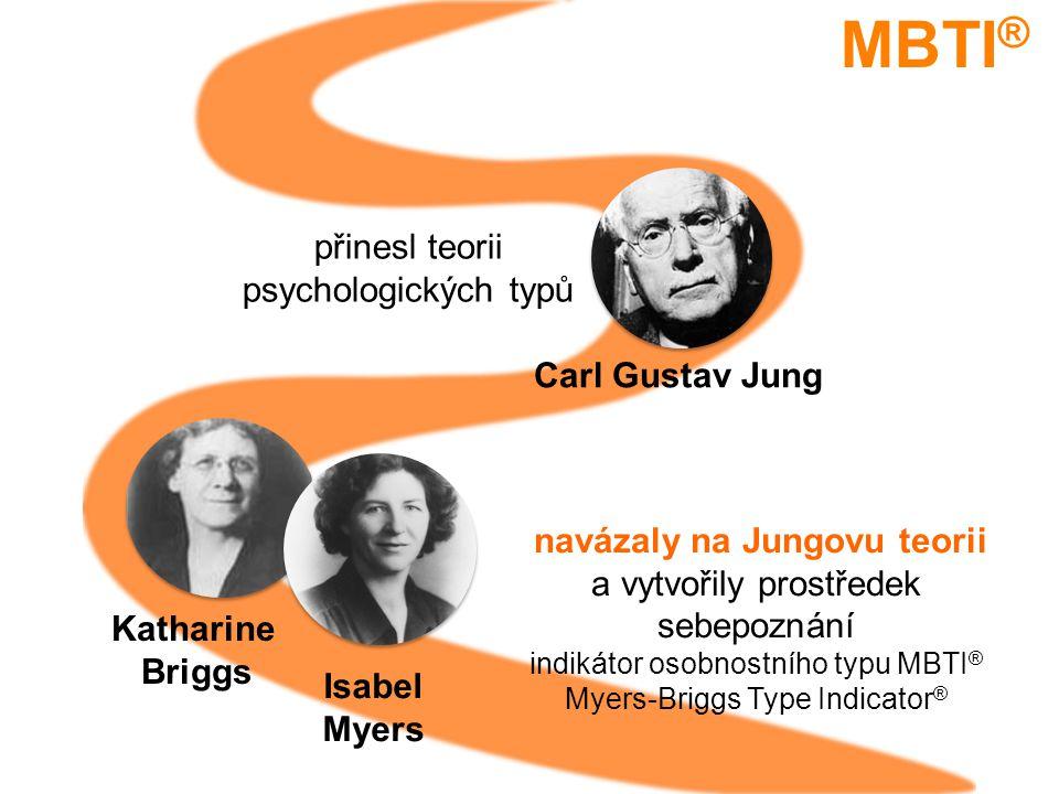 Isabel Myers Katharine Briggs navázaly na Jungovu teorii a vytvořily prostředek sebepoznání indikátor osobnostního typu MBTI ® Myers-Briggs Type Indicator ® přinesl teorii psychologických typů MBTI ® Carl Gustav Jung
