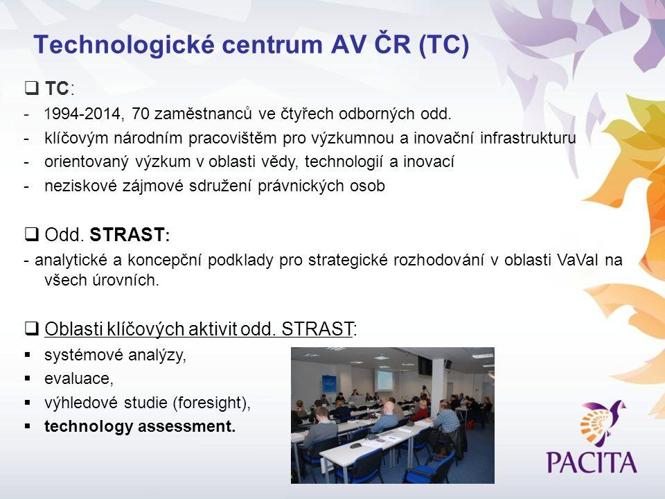 Technologické centrum AV ČR (TC)  TC: - 1994-2014, 70 zaměstnanců ve čtyřech odborných odd.