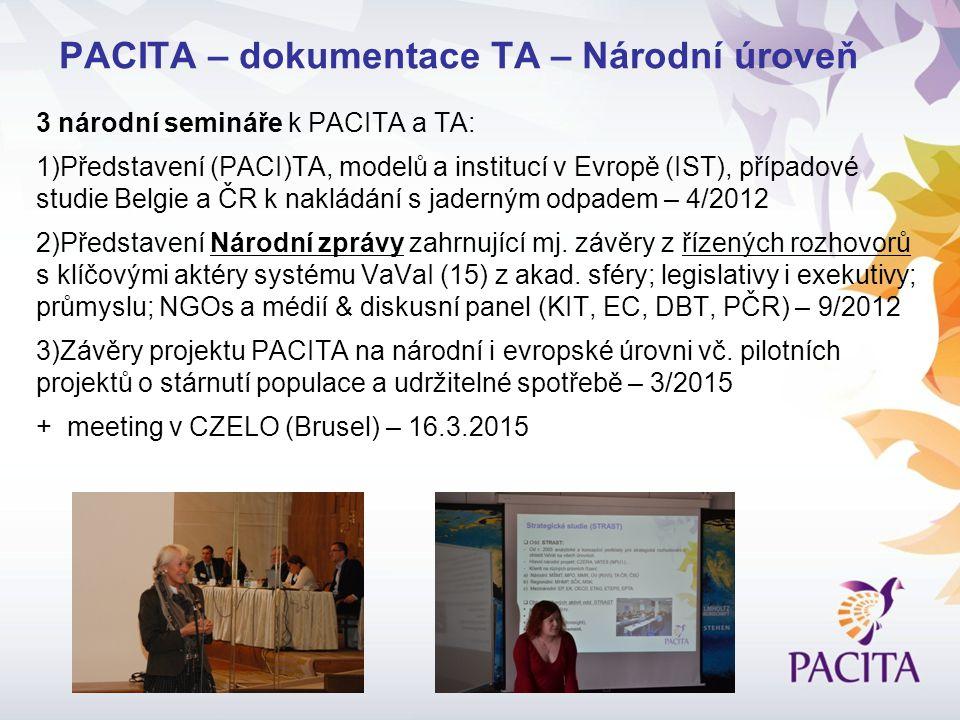 3 národní semináře k PACITA a TA: 1)Představení (PACI)TA, modelů a institucí v Evropě (IST), případové studie Belgie a ČR k nakládání s jaderným odpadem – 4/2012 2)Představení Národní zprávy zahrnující mj.