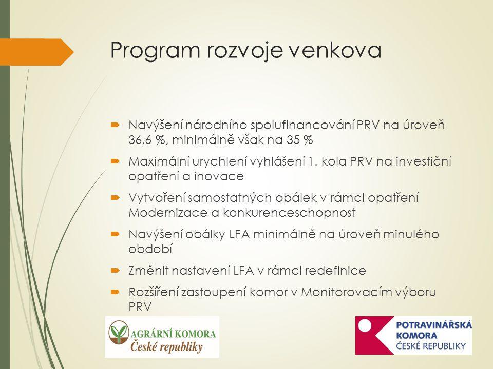 Program rozvoje venkova  Navýšení národního spolufinancování PRV na úroveň 36,6 %, minimálně však na 35 %  Maximální urychlení vyhlášení 1.