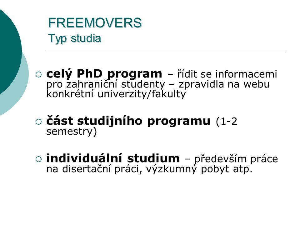 FREEMOVERS Typ studia  celý PhD program – řídit se informacemi pro zahraniční studenty – zpravidla na webu konkrétní univerzity/fakulty  část studijního programu (1-2 semestry)  individuální studium – především práce na disertační práci, výzkumný pobyt atp.
