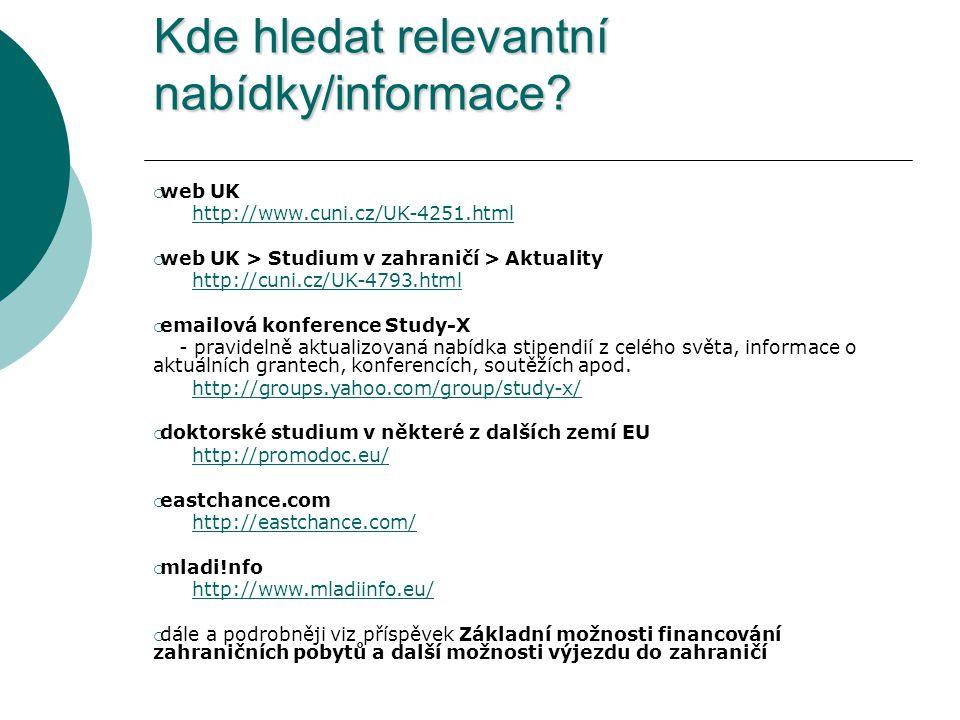 Kde hledat relevantní nabídky/informace.