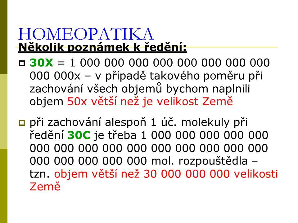 HOMEOPATIKA Několik poznámek k ředění:  30X = 1 000 000 000 000 000 000 000 000 000 000x – v případě takového poměru při zachování všech objemů bychom naplnili objem 50x větší než je velikost Země  při zachování alespoň 1 úč.