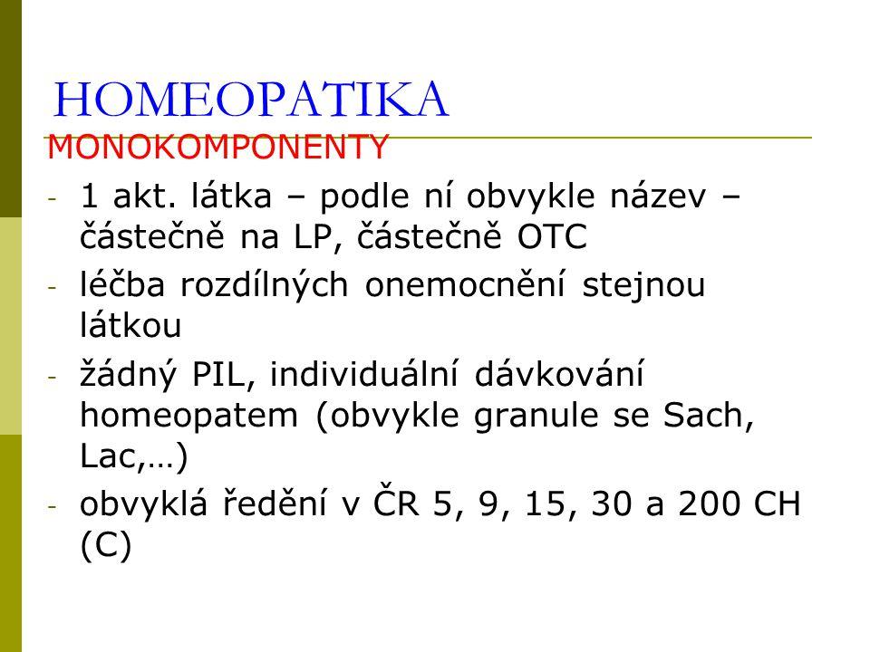 HOMEOPATIKA MONOKOMPONENTY - 1 akt. látka – podle ní obvykle název – částečně na LP, částečně OTC - léčba rozdílných onemocnění stejnou látkou - žádný