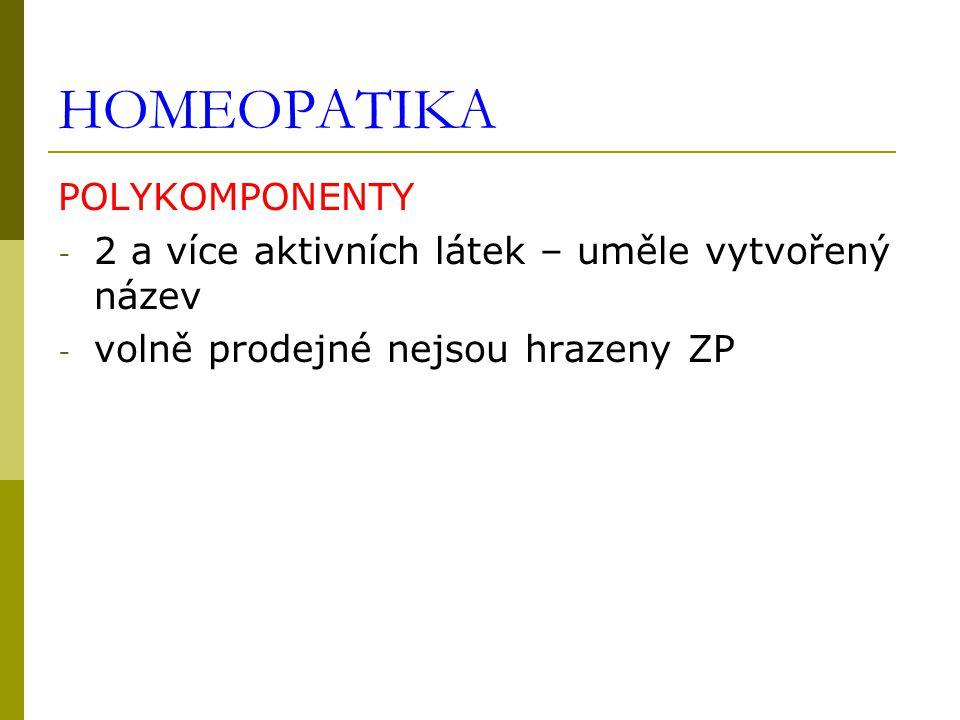 HOMEOPATIKA POLYKOMPONENTY - 2 a více aktivních látek – uměle vytvořený název - volně prodejné nejsou hrazeny ZP