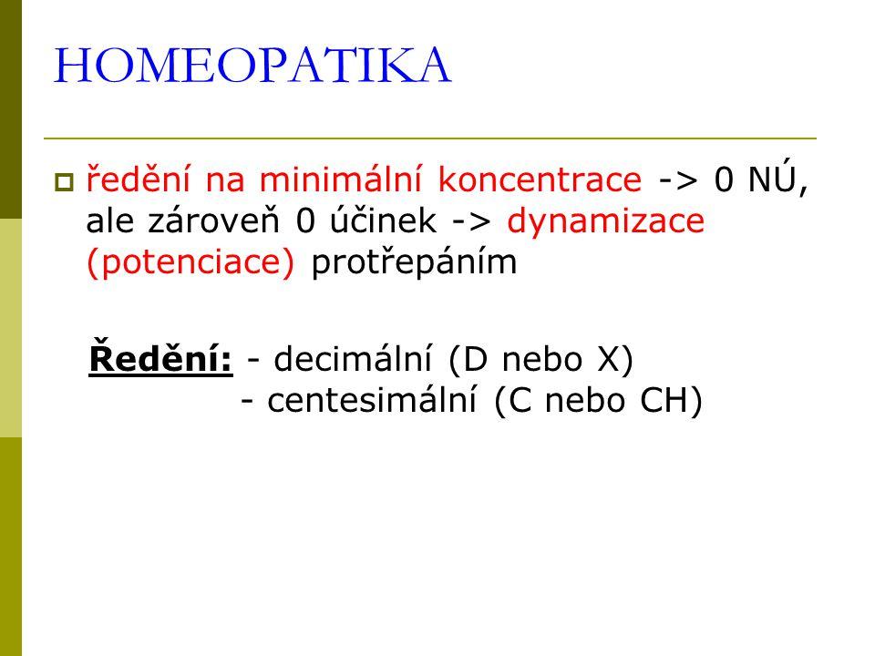 HOMEOPATIKA  ředění na minimální koncentrace -> 0 NÚ, ale zároveň 0 účinek -> dynamizace (potenciace) protřepáním Ředění: - decimální (D nebo X) - ce