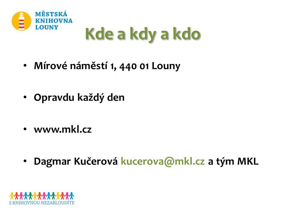 Kde a kdy a kdo Mírové náměstí 1, 440 01 Louny Opravdu každý den www.mkl.cz Dagmar Kučerová kucerova@mkl.cz a tým MKL