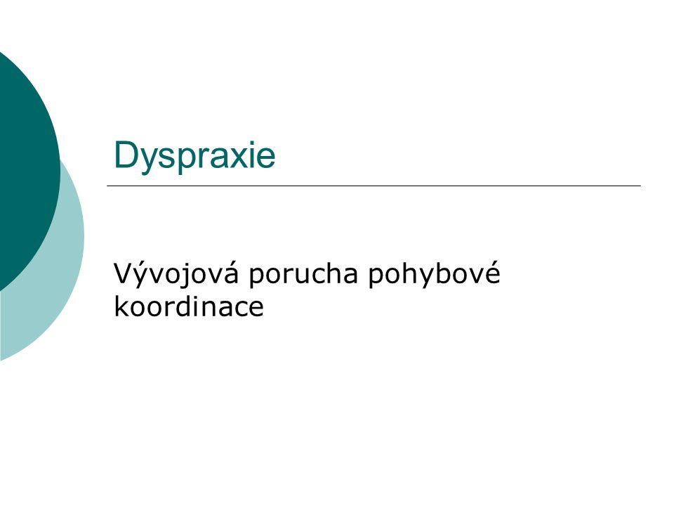 Dyspraxie Vývojová porucha pohybové koordinace