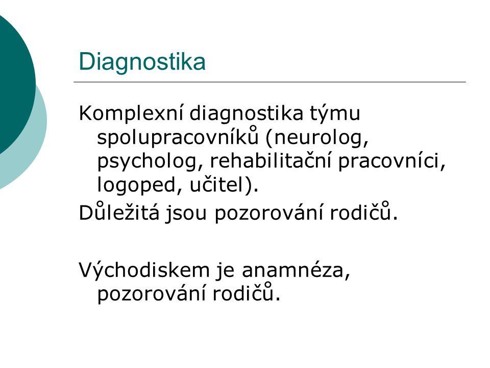 Diagnostika Komplexní diagnostika týmu spolupracovníků (neurolog, psycholog, rehabilitační pracovníci, logoped, učitel). Důležitá jsou pozorování rodi
