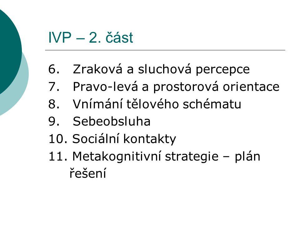 IVP – 2. část 6. Zraková a sluchová percepce 7. Pravo-levá a prostorová orientace 8. Vnímání tělového schématu 9. Sebeobsluha 10. Sociální kontakty 11